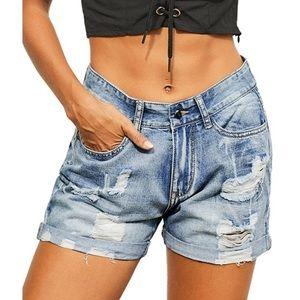High Waist Rolled Cuff Vintage Wash Denim Shorts